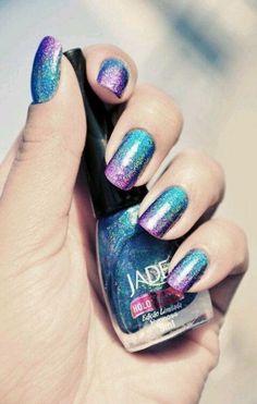 Bling Holographic Nail Polish For Women - Jade Holographic Nail. - Nail Polish - Blue: So very beautiful Holographic Nail Polish, Gradient Nails, Galaxy Nails, Ombre Nail, Acrylic Nails, Fabulous Nails, Gorgeous Nails, Cute Nails, Pretty Nails