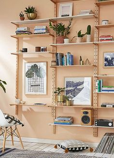 Unique Wall Shelves, Wall Shelving Units, Wall Shelves Design, Shelving Ideas, Track Shelving, Shelving Systems, Storage Ideas, Wall Mounted Shelves, Interior Tropical