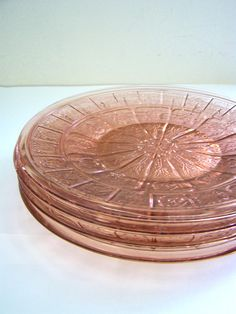 Set of 4 Pink Plates depression glass