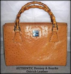 * AUTHENTIC Dooney & Bourke Ostrich Satchel w/ Bamboo Handles * $285 Retail * FREE Shipping $89.99