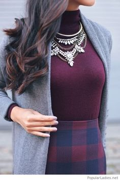 my-kind-of-office-look-purple-top-plaid-skirt-and-grey-coats