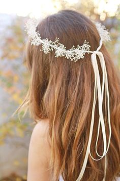 baby's breath crown, ivory, bridal headband, wedding hairpiece. $30.00, via Etsy.