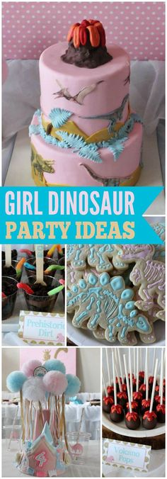 You have to see this pink girly dinosaur party! See more party ideas at… Girl Dinosaur Birthday, Birthday Cake Girls, Dinosaur Party, Dinosaur Dinosaur, 6th Birthday Parties, Birthday Ideas, Birthday Recipes, 2nd Birthday, Dino Cake
