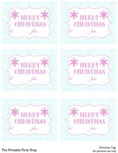 Free christmas printables   printable gift tags   pink and aqua snowflake from the printable party shop