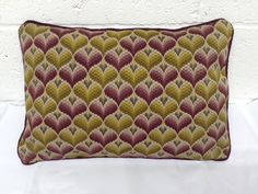 Vintage woolwork tapestry cushion by CarianInteriors on Etsy