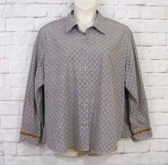 Womens Plus FOXCROFT Black White Bronze Polka Dot Button Front Blouse Top SZ 24W #Foxcroft #ButtonDownShirt #CareerCasual