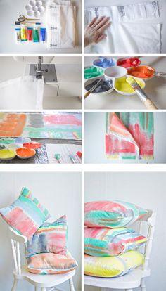 Brushstroke Print Cushion Cover DIY