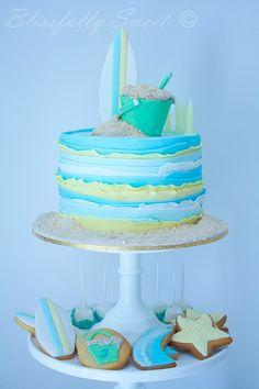 Beach Themed Cakes, Beach Cakes, Theme Cakes, Pretty Cakes, Cute Cakes, Fondant Cakes, Cupcake Cakes, Surf Cake, Ocean Cakes
