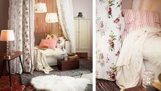 Curtain room divider, throws, cushions and rugs