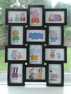 Large Framed Peppa Pig Multiple Prints Art Work. Lots of Peppa's family and friends for your little ones bedroom wall by Aveegotun on Etsy