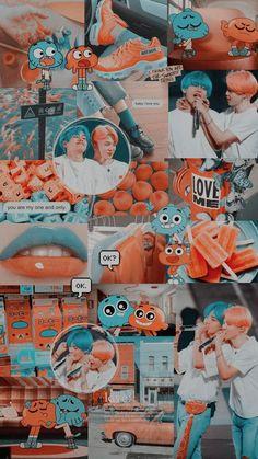 vmin Jimin taehyung v wallpaper bts lockscreen darwin gumball aesthetic blue orange cartoon 820992207054156882 Anime emerged when Japanese filmmakers discovered … Wallpaper Pastel, Vintage Wallpaper, Aesthetic Pastel Wallpaper, Blue Wallpapers, Tumblr Wallpaper, Aesthetic Wallpapers, Orange Wallpaper, Bts Aesthetic Wallpaper For Phone, Goth Wallpaper