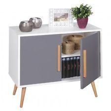 Sideboard Weiss 2 Turen Skandinavisch Retro Design Kommode