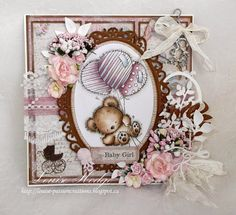 Passion Creations: It's a Girl.Paradise of stamps DT Card New Baby Cards, Scrapbooking, Pretty Cards, Lily Of The Valley, Copics, Homemade Cards, Making Ideas, Cardmaking, New Baby Products