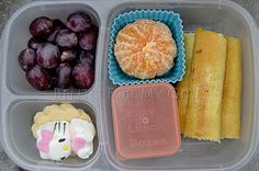 I have made grilled cheese sticks before and D loved them! I also included a mini dipper with pizza sauce for dipping, a clementine, some grapes, a few lemon cookies and a Hello Kitty marshmallow from Easter! Kids Snack Box, Kids Packed Lunch, Easy Lunch Boxes, Lunch Box Recipes, Lunch Ideas, Box Lunches, School Lunches, Grilled Cheese Sticks, Grilled Cheese Rolls
