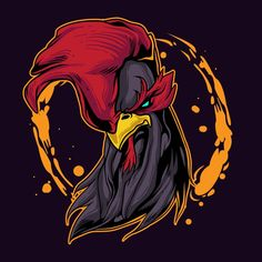 Rooster Vector, Rooster Logo, Rooster Art, Badass Drawings, Art Drawings, Cartoon Rooster, Cartoon Art, Rooster Illustration, Rooster Tattoo