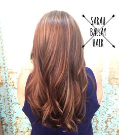 Auburn base color with honey highlights and copper lowlights. Perfect hair color for fall