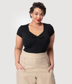2cd5a881ca9 Unique Vintage Plus Size 1950s Style Black Knit Sweetheart Rosemary Top  Vintage Closet