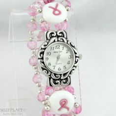 Cancer Awareness Handmade Hand Beaded Pink White Abby Girl Watch Band Face SuzePlace.com