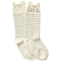 Cat knee high socks ($5.95) ❤ liked on Polyvore featuring intimates, hosiery, socks, cat print socks, knee hi socks, cat socks, knee socks and cat knee high socks