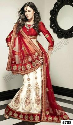 Red and White Ghagra with Gold Embroidery