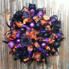 Deco Mesh Halloween Burlap Wreath Orange Black Burlap Ribbon Purple Glitter Owl Holiday Decor on Etsy, $120.00