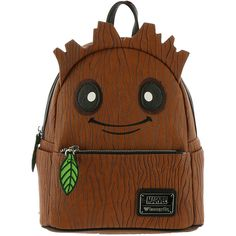 Loungefly x Marvel Groot Mini Backpack Brown Bags (260 RON) ❤ liked on Polyvore featuring bags, backpacks, brown, mini backpack, mini rucksack, zip backpack, fake leather backpack and faux-leather backpacks