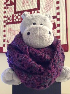 """The """"Leaning Shell"""" stitch pattern from Annie's 100 Quick & Easy Crochet Stitches. I made it into an infinity scarf, that can be wrapped two to three times."""