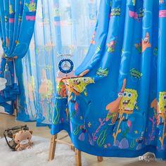 Meninas Meninos Cortinas Desenhos Animados Cortina De Sombreamento De Tecido Cortinas Spongebob Quarto Das