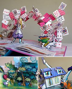 Alice in Wonderland pop-up book by Robert Sabuda. My best friend gave this to me for a birthday gift, and it's definitely one of the coolest things I own. So much detail on every page. The same artists has also done a Wizard of Oz Pop-up book. Pop Up Art, Arte Pop Up, Alice In Wonderland Gifts, Wonderland Party, Kirigami, Cuento Pop Up, Tarjetas Diy, Diy And Crafts, Paper Crafts