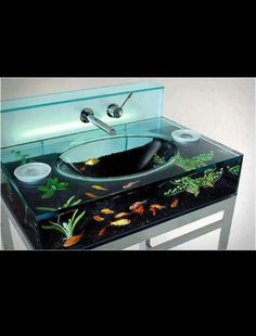 Awesome fish tank bathroom sink!