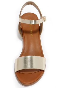 Cute Gold Sandals - Vegan Leather Sandals - $23.00