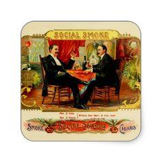 Vintage cigar box labels square stickers