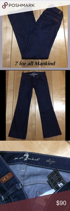 """7 for all Mankind Dojo flares size 28 x 31.25"""" 7 for all mankind Dojo wide leg jeans • 31.25"""" inseam, 8"""" rise, 15"""" across waist, 21"""" leg opening • 98% cotton, 2% lycra • Excellent condition, like new!! 7 For All Mankind Jeans Flare & Wide Leg"""