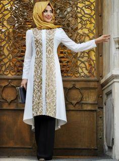 Leather Detailed Felt Coat - Ecru - Pınar Şems