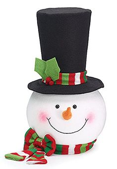 Snowman Head with Top Hat & Red/Green Scarf Christmas Tree Topper - A cute decoration for your Christmas tree. This snowman smile will light up the room. Christmas Tree Toppers, Christmas Crafts, Christmas Decorations, Christmas Ornaments, Christmas Ideas, Winter Christmas, Tree Decorations, Holiday Ideas, Xmas