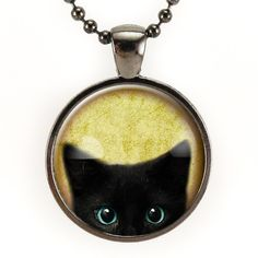 Peeking Black Cat Necklace In Gunmetal Black, cute halloween jewelry! – CellsDividing