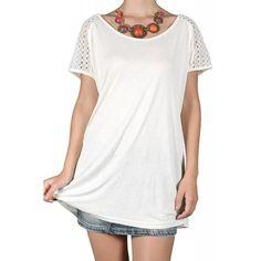 Bluza Dama VERO MODA Sanda Merci Top White Shirt Dress, T Shirt, Tops, Dresses, Fashion, Elegant, Supreme T Shirt, Vestidos, Moda