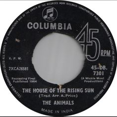 "the animals ""the house of the rising sun"""
