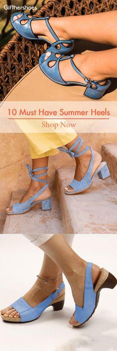 10 Must Have Summer Heels 610 Cute Shoes Heels, Funky Shoes, Blue Shoes, New Shoes, Me Too Shoes, Shoe Boots, Shoes Sandals, Summer Heels, Funky Outfits