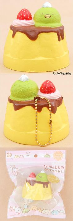 Kawaii Summiko Gurashi pudding squishy with dripping chocolate sauce, whipped cream and a strawberry, and a Penguin? Balle Anti Stress, Cute Squishies, June Bug, Cute Keychain, Pudding, Kawaii Things, Kawaii Stuff, Pusheen, Food Design