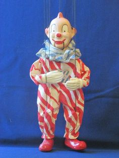 Vintage Antique 1950s Clarabell the Clown String Puppet Marionette Howdy Doody