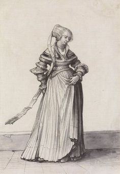 1523 Hans Holbein the Younger. Basel Woman Turned to the Right, costume study. Pen and ink and brush, grey wash, 29 × cm, Kunstmuseum Basel. High Renaissance, Renaissance Fashion, Renaissance Clothing, 1500s Fashion, Women's Fashion, Historical Costume, Historical Clothing, Hans Holbein Le Jeune, Boho Hippie