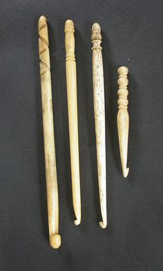 Fine Turned Bone Crochet Hooks; 19th Century