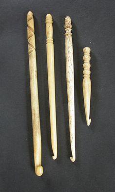 Fine Turned Bone Crochet Hooks; 19th Century