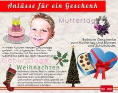 Anlässe für ein Geschenk - Geburtstag, Weihnachten, Muttertag, … Anlässe zum #Geschenke Einpacken und Schenken gibt es viele. Diese Grafik wurde von www.packanddesign.com erstellt, dem Anbieter von hochwertigem #Seidenpapier und anderen qualitätsvollen Geschenkverpackungen.