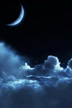 """""""This crescent and those clouds along with the dark sky reminds me of my sisters. The moon, for she is coming up for herself. Brave. And the clouds are honoured for my snow-sister. She has always been gentle, but rough when she has to. And I, the night, is the follower. I support them both."""" ~ Nightsky"""