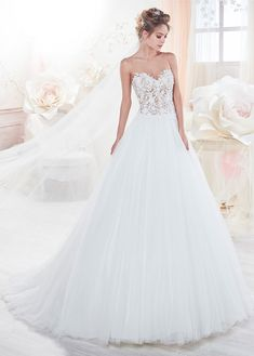 Amazing Tulle Sheer Scoop Neckline See-through A-Line Wedding Dress Wi – FTW Bridal Rosa Clara Wedding Dresses, Wedding Dresses 2018, Bridal Dresses Online, Bridal Gowns, Ball Dresses, Ball Gowns, Illusion Neckline Wedding Dress, Unconventional Wedding Dress, Marie