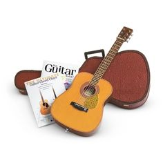 This acoustic guitar set for dolls comes with a faux-tortoiseshell pick guard and fret stops, strap, music book and chord book and a felt-lined guitar case. American Girl Outlet, All American Boy, Guitar Diy, Guitar Case, Guitar Chord Chart, Guitar Chords, Acoustic Guitar Lessons, Acoustic Guitars, Experience Gifts