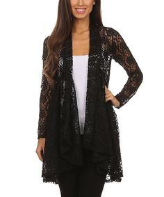 This Pretty Young Thing Black Floral Lace Drape Open Cardigan by Pretty Young Thing is perfect! #zulilyfinds