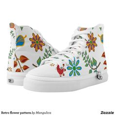 Retro flower pattern printed shoes